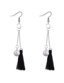 Fashion Black Tassel&pearls Decorated Long Earrings