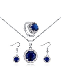 Elegant Sapphire Blue Round Shape Decorated Jewelry Sets