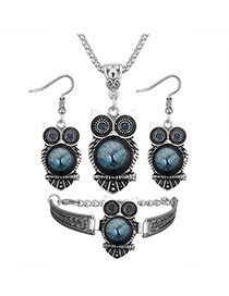 Vintage Blue Owl Shape Decorated Jewelry Set ( 3 Pcs )