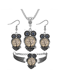 Vintage Beige Owl Shape Decorated Jewelry Set ( 3 Pcs )