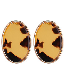 Fashion Yellow Oval Shape Decorated Earrings