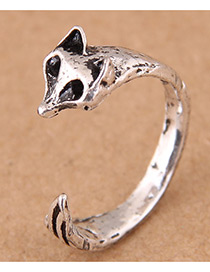 Vintage Antique Silver Fox Shape Design Opening Ring