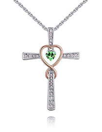 Fashion Green Cross Shape Decorated Necklace