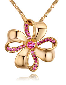 Fashion Gold Color+plum Red Flower Shape Decorated Necklace