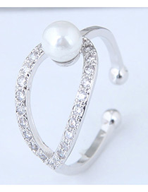 Fashion Silver Color Pearl&diamond Deocrated Opening Ring