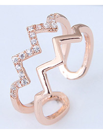 Fashion Rose Gold Wave Shape Design Opening Ring
