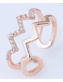 Fashion Rose Gold Wave Shape Design Opening Ring