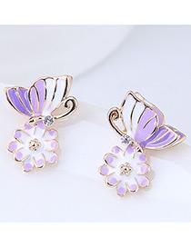 Fashion Purple Flower&butterfly Shape Design Earrings
