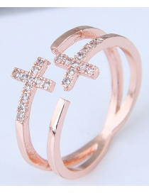 Fashion Gold Color Cross Shape Decorated Ring