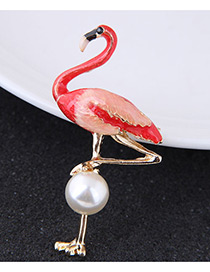 Fashion Red Flamingo Shape Decorated Brooch