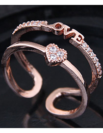 Fashion Gold Color Letter Shape Decorated Ring