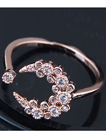 Fashion Gold Color Moon Shape Decorated Ring