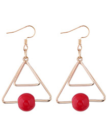 Fashion Red Triangle Shape Decorated Earrings