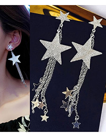 Fashion Silver Color Stars Shape Decorated Long Earrings