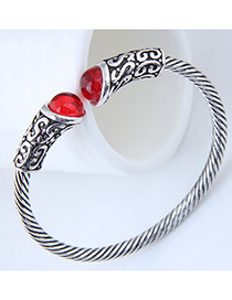 Fashion Silver Color+red Gemstone Decorated Opening Bracelet