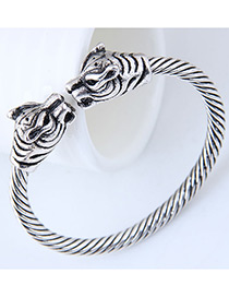 Fashion Silver Color+red Leopard Shape Design Pure Color Bracelet