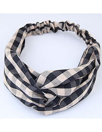 Sweet Khaki+black Grid Pattern Decorated Wide Hair Band