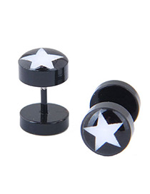 Fashion Black+white Star Pattern Decorated Earrings