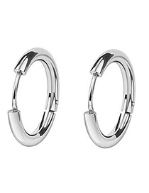 Fashion Silver Color Round Shape Decorated Earrings(14mm)