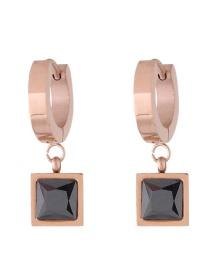 Fashion Rose Gold+black Square Shape Decorated Earrings