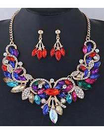 Fashion Multi-color Leaf Shape Decorated Jewelry Set