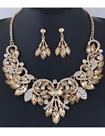 Fashion Champagne Leaf Shape Decorated Jewelry Set