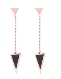 Fashion Rose Gold+black Triangle Shape Decorated Earrings