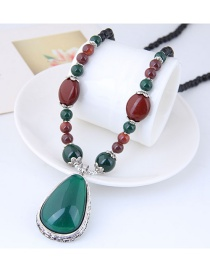 Elegant Green+red Water Drop Shape Pendant Decorated Long Necklace