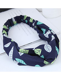 Sweet Navy Leaf Pattern Decorated Wide Hair Band
