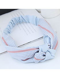 Sweet Blue Grid Pattern Decorated Wide Hair Band