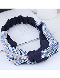 Sweet Blue+navy Grid Pattern Decorated Wide Hair Band