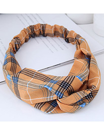 Fashion Orange Grid Pattern Decorated Hairband