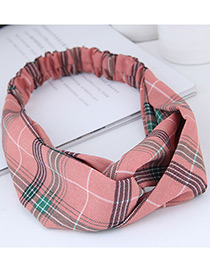 Fashion Pink Grid Pattern Decorated Hairband