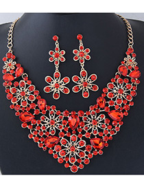 Fashion Red Full Diamond Decorated Flower Shape Jewelry Sets