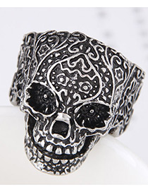 Vintage Silver Color Skull Shape Decorated Ring