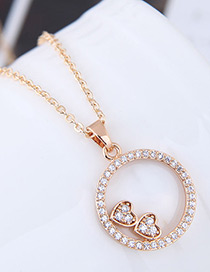 Elegant Gold Color Heart Shape Pendant Decorated Necklace