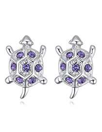 Fashion Purple Tortoise Shape Decorated Earrings