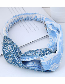 Fashion Blue Flower Pattern Decorated Headband