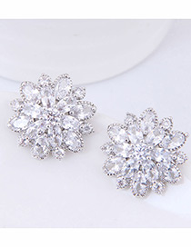 Fashion Silver Color Flower Pattern Decorated Earrings