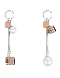 Fashion Gold Color Pearls&magic Cube Decorated Long Earrings