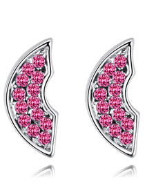 Fashion Plum Red Irregular Shape Decorated Earrings