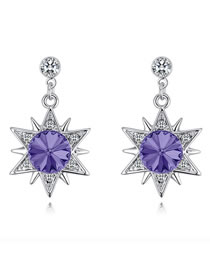 Fashion Purple Star Shape Decorated Long Earrings