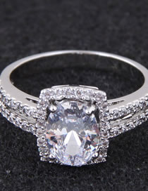 Fashion Silver Color Full Diamond Decorated Double Layer Ring