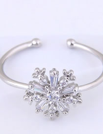 Fashion Silver Color Snowflake Decorated Opening Ring