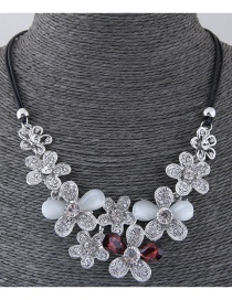 Fashion Silver Color+claret Red Flower Shape Design Necklace