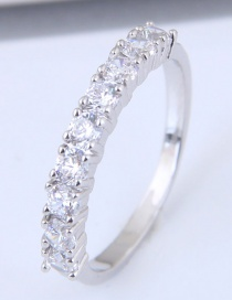 Fashion Silver Color Full Diamond Decorated Simple Ring