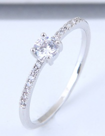 Fashion Silver Color Round Shape Decorated Simple Ring