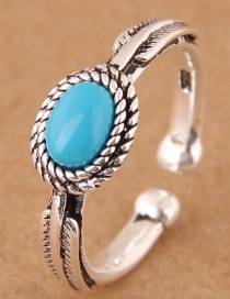 Fashion Silver Color Oval Shape Decorated Opening Ring