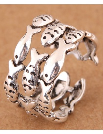 Fashion Silver Color Fish Shape Design Opening Ring