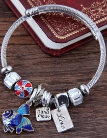 Fashion Silver Color+blue Goldfish Shape Decorated Bracelet